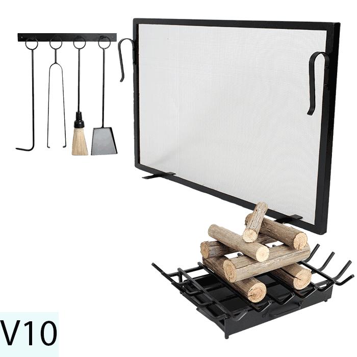 Kit Para Lareira Com Tela 70x50 e Acessorios - Codigo V10