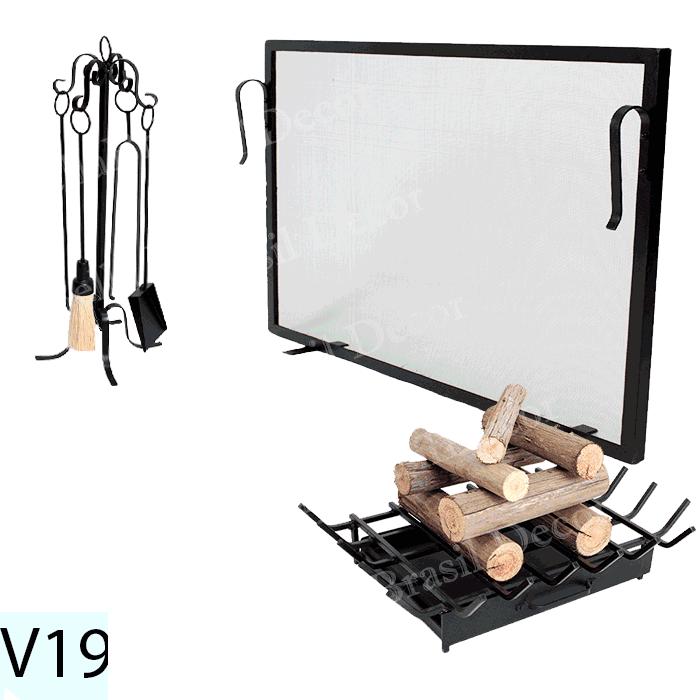 Kit Para Lareira Com Tela 80x50 e Acessorios - Codigo V19