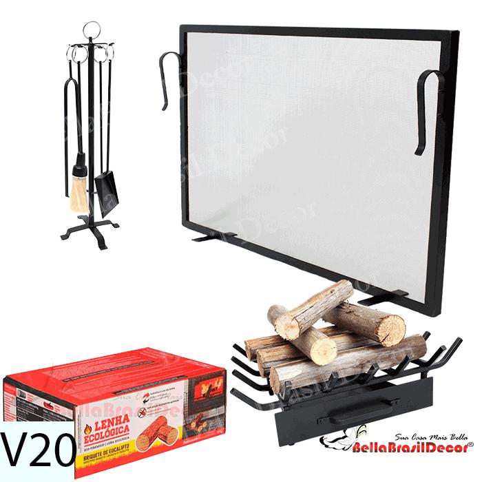 Kit Para Lareira Com Tela 80x50 e Acessorios - Codigo V20