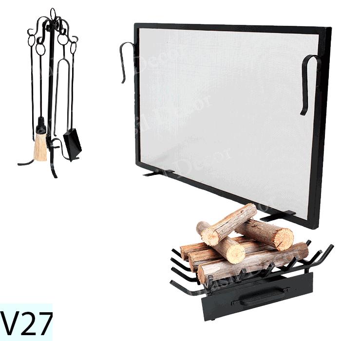 Kit Para Lareira Com Tela 80x50 e Acessorios - Codigo V27