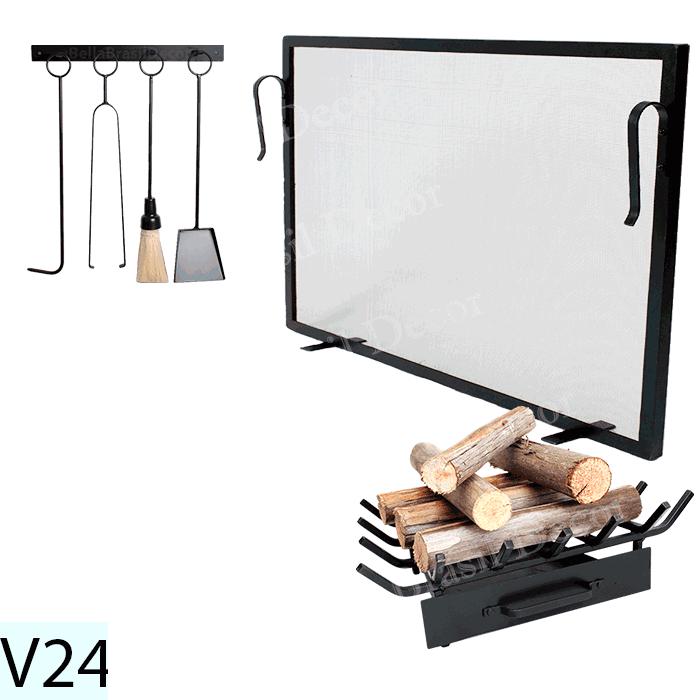Kit Para Lareira Com Tela 90x60 e Acessorios - Codigo V24