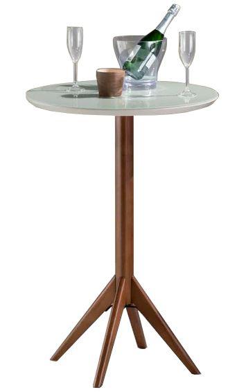 Mesa Bistro Lier com Tampo de Vidro Branco 60cm