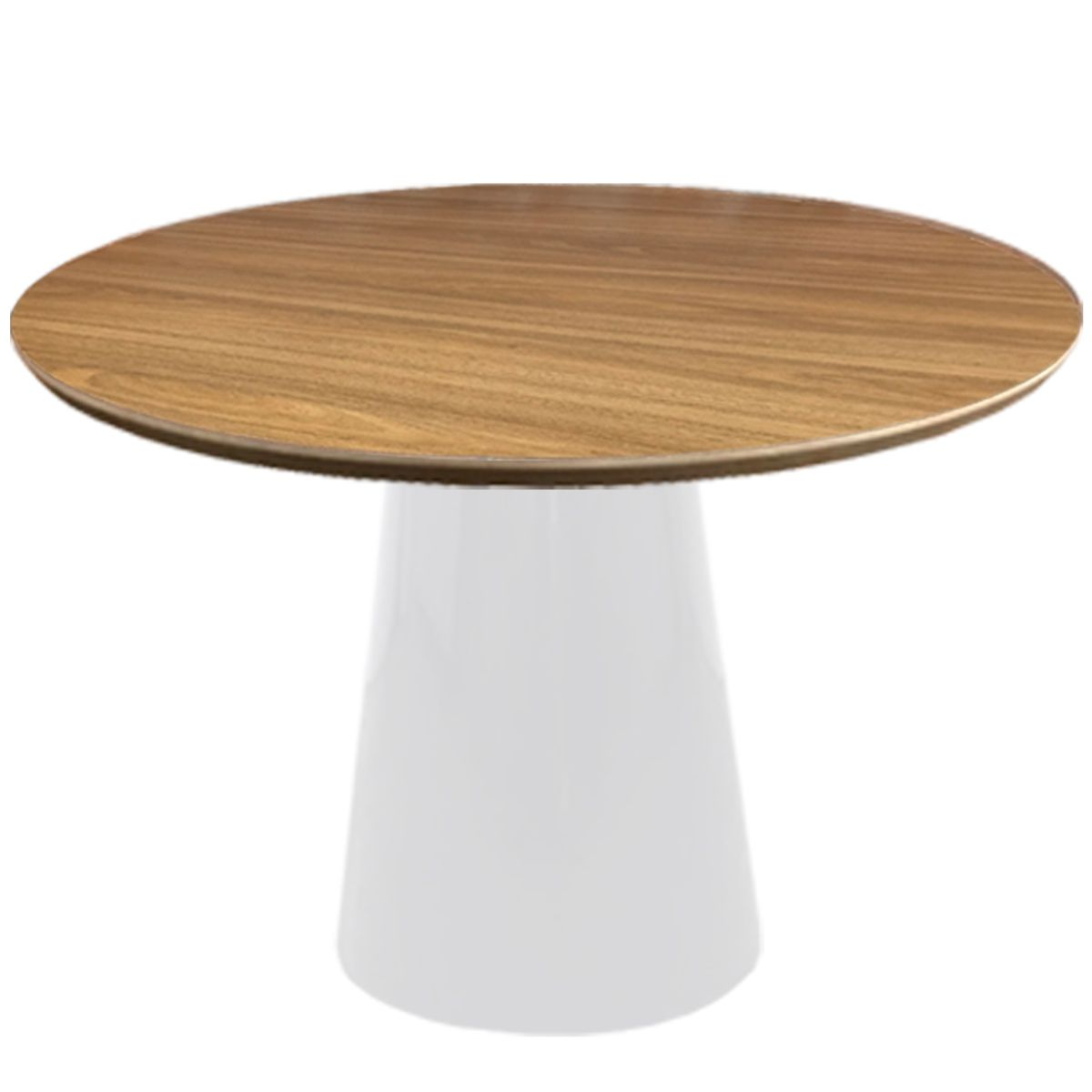 Mesa de Jantar Redonda Cone com Base Branca Para 4 Lugares 1,00m