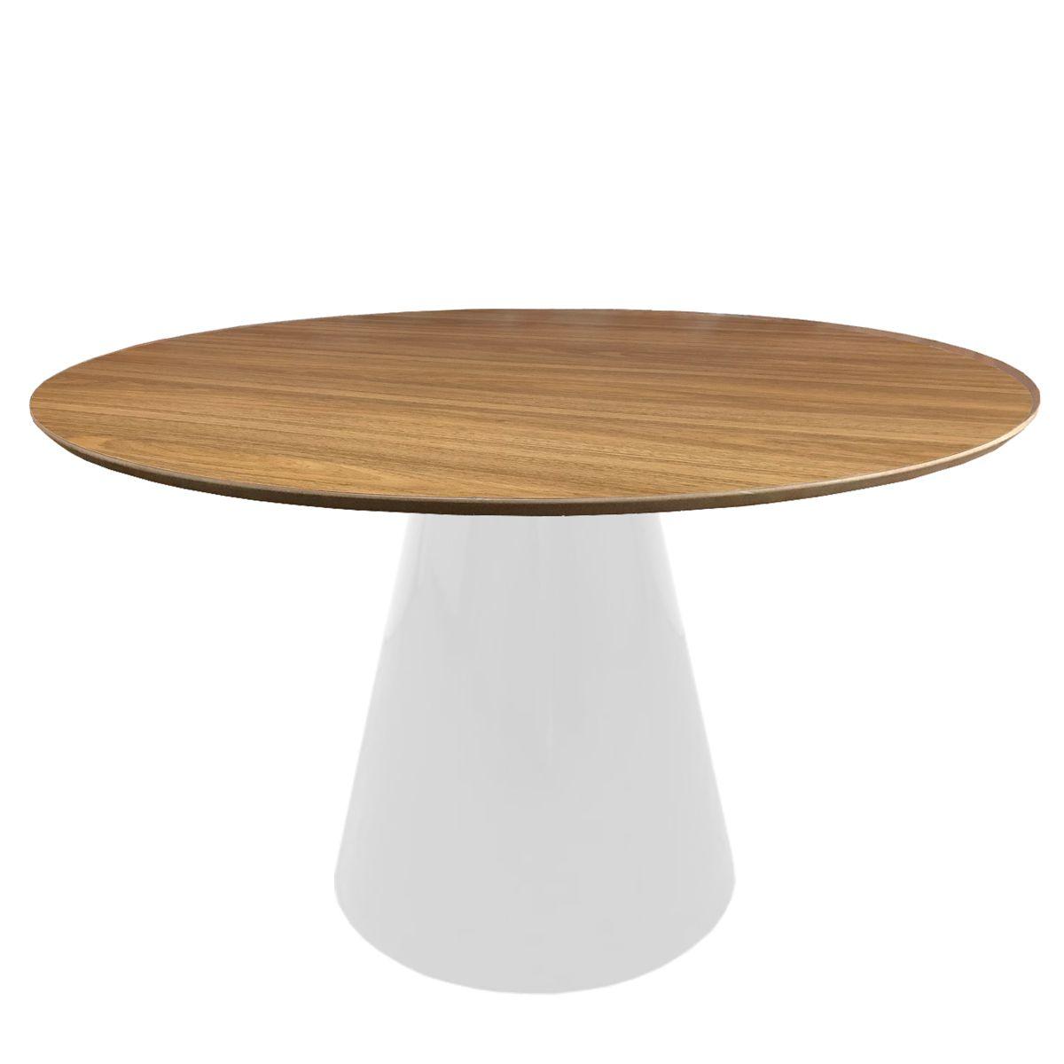 Mesa de Jantar Cone Redonda em Fibra com Base Branca e Tampo de Madeira