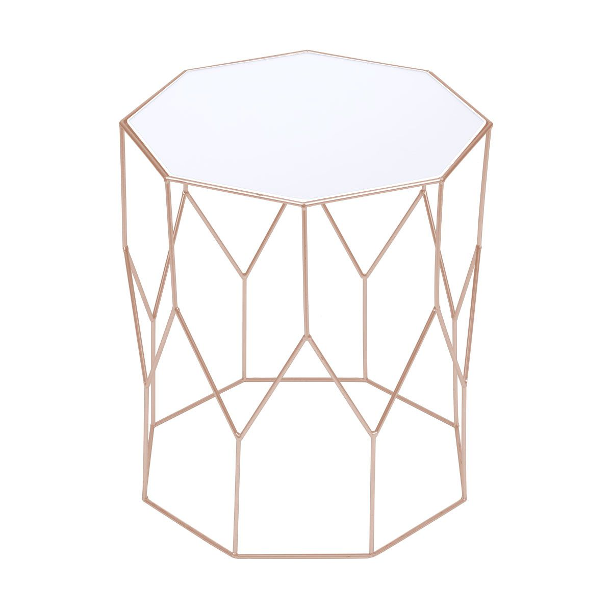 Mesa de Apoio Ainah com Tampo Espelhado e Estrutura em Metal Dourada