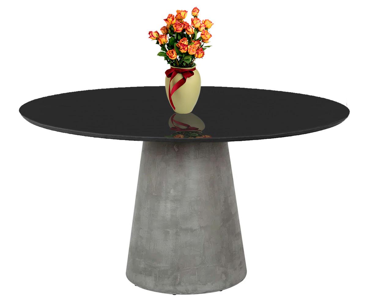 Mesa de Jantar Cone Cimento Rustico com Tampo Coverglass