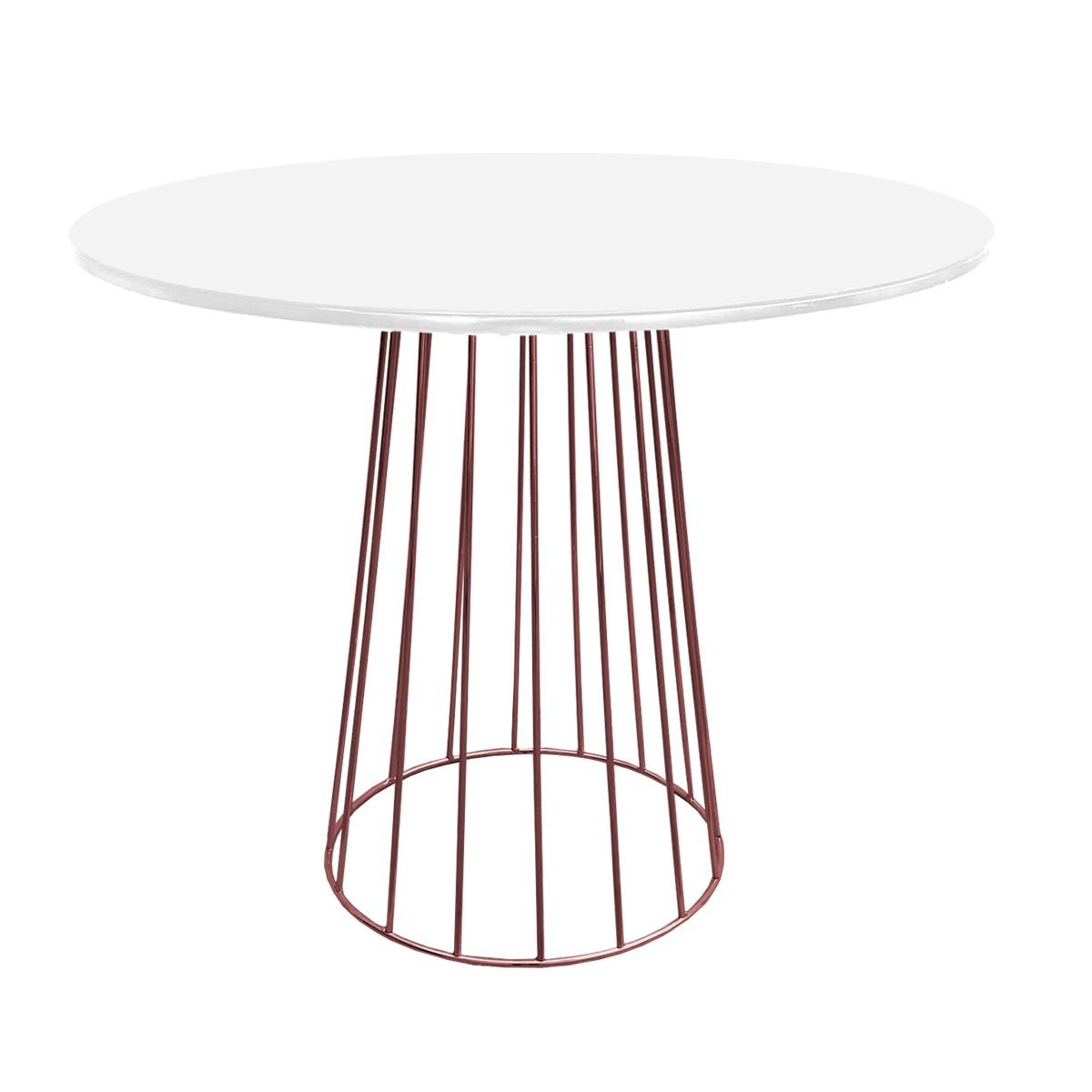 Mesa de Jantar Cone Redonda Raiada Cobre Rose Gold com Tampo Coverglass Sobreposto