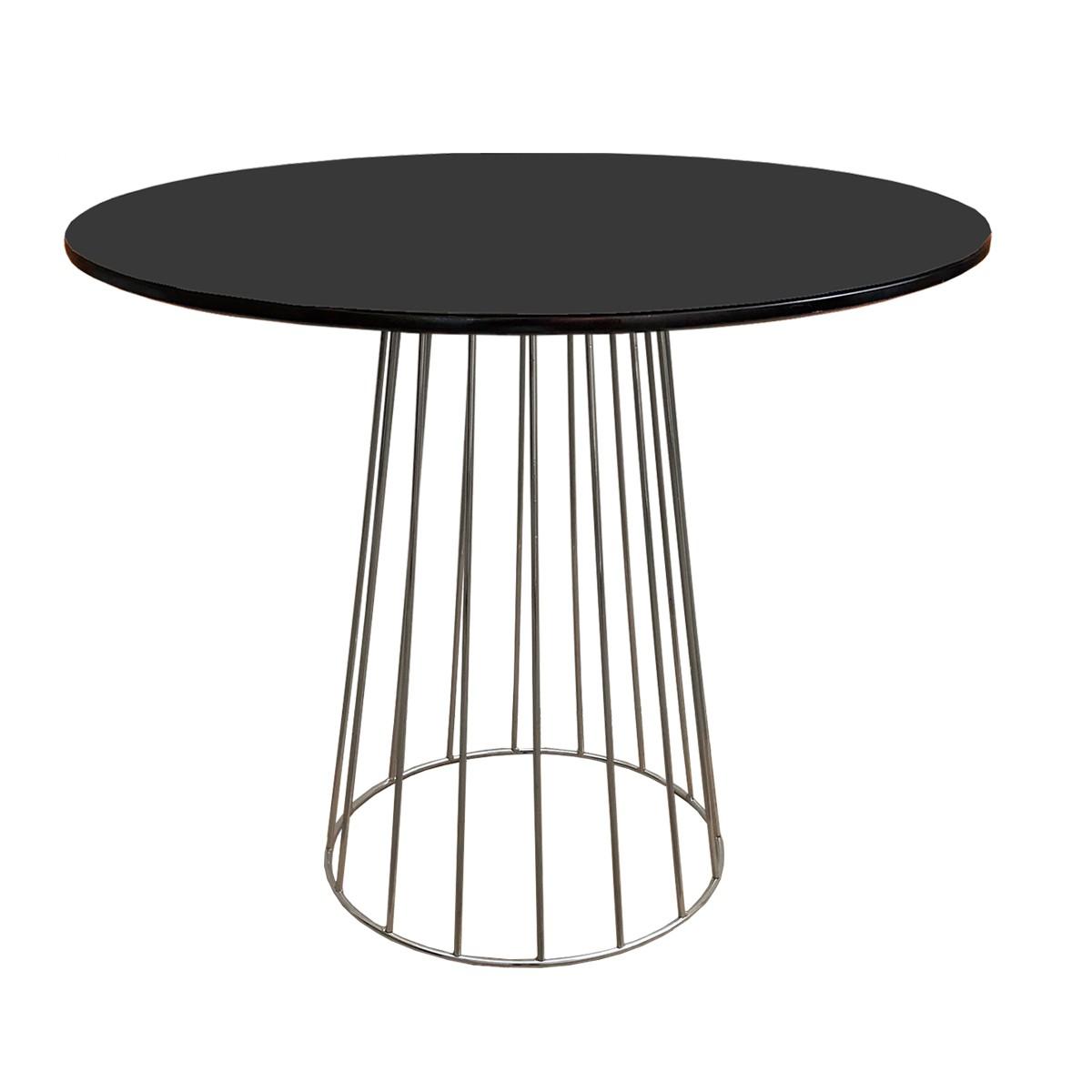 Mesa de Jantar Cone Redonda Raiada Cromada com Tampo Coverglass Sobreposto