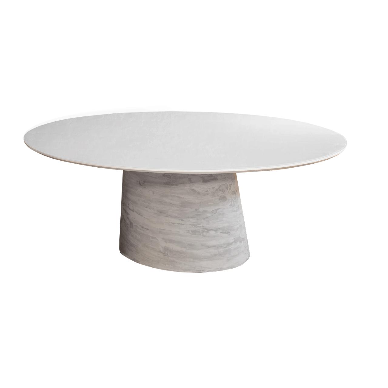 Mesa de Jantar Cone Oval Fibra Tampo Coverglass 160x90cm