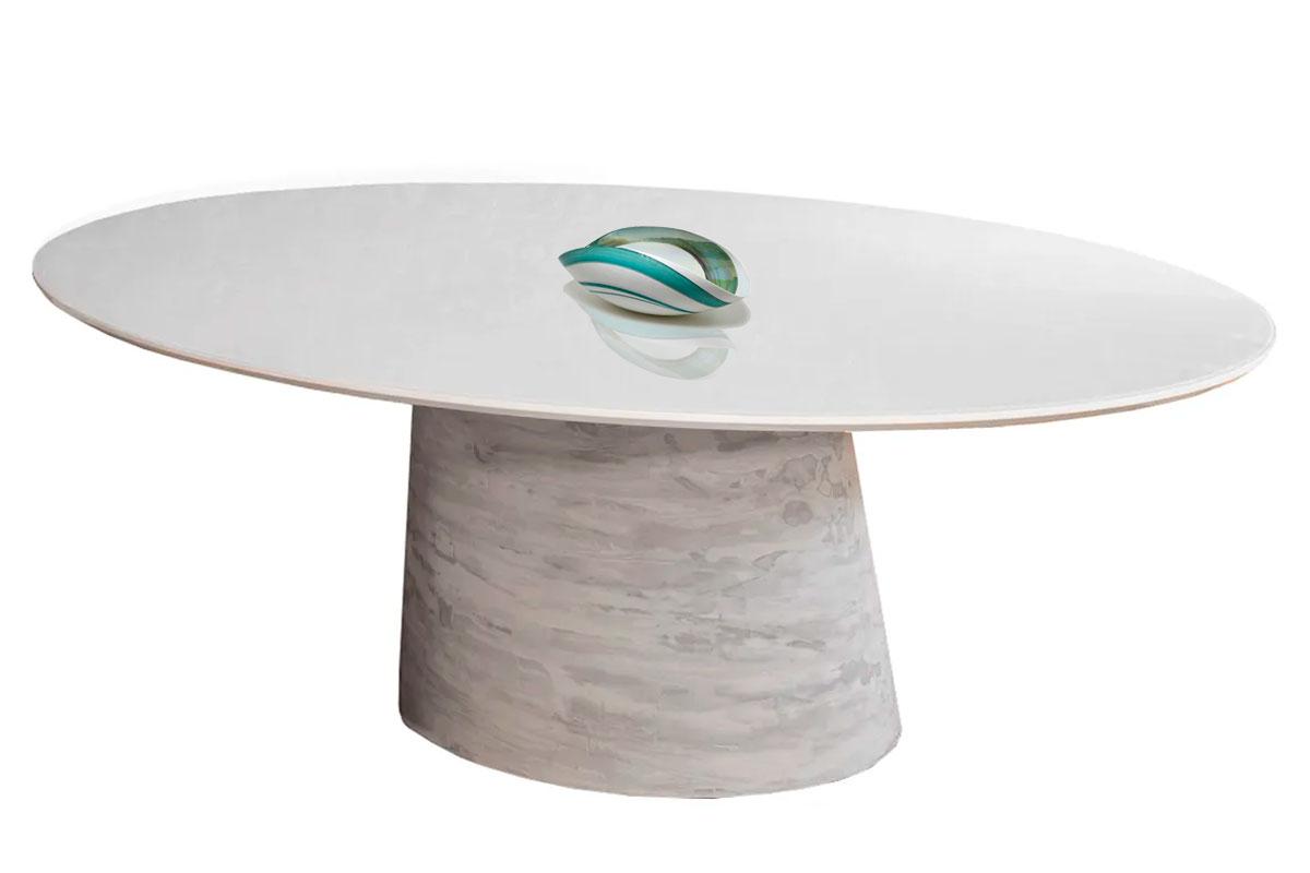 Mesa de Jantar Oval Cone Fibra com Tampo Coverglass 160x90cm