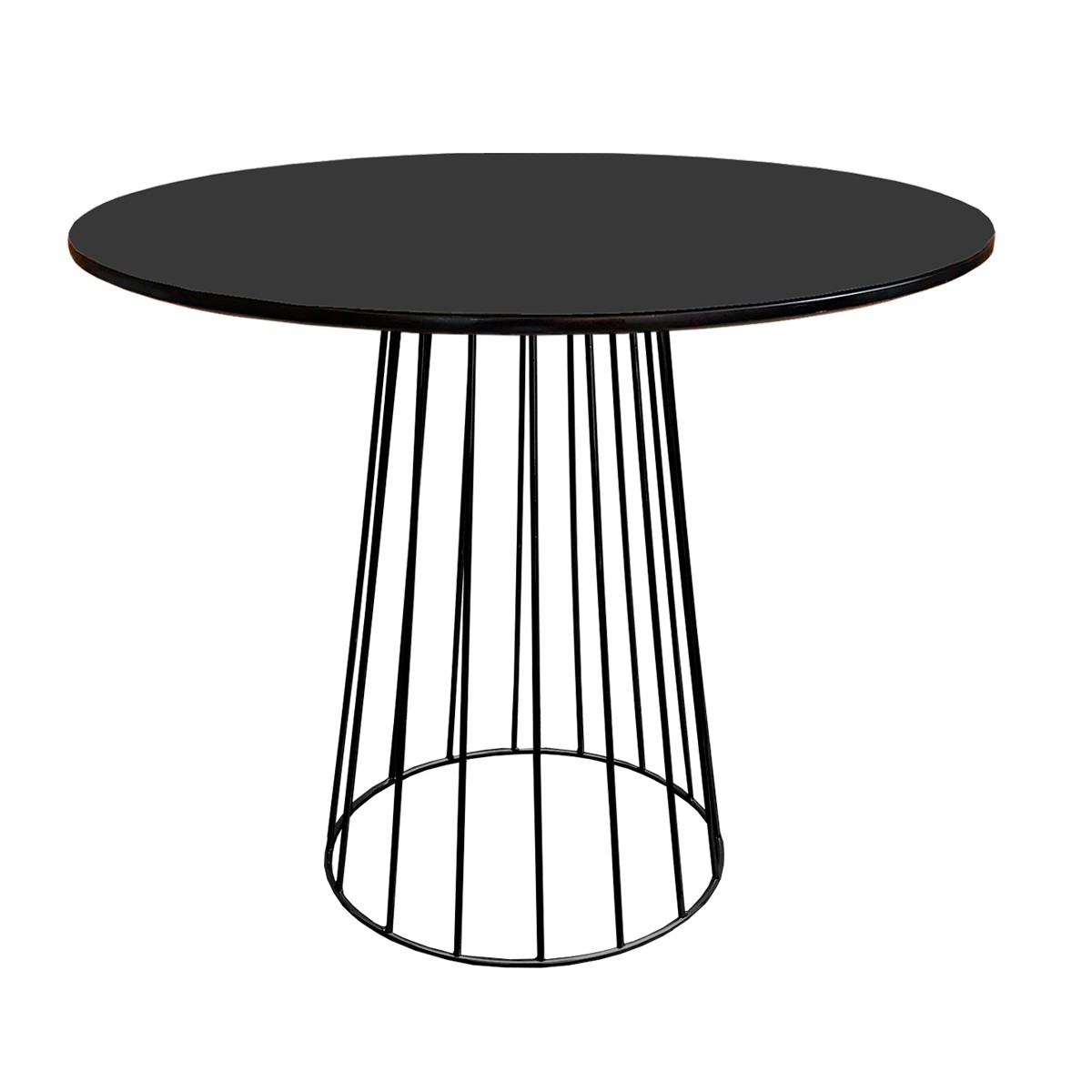 Mesa de Jantar Cone Redonda Raiada Preta Fosca Com Tampo Coverglass Sobreposto