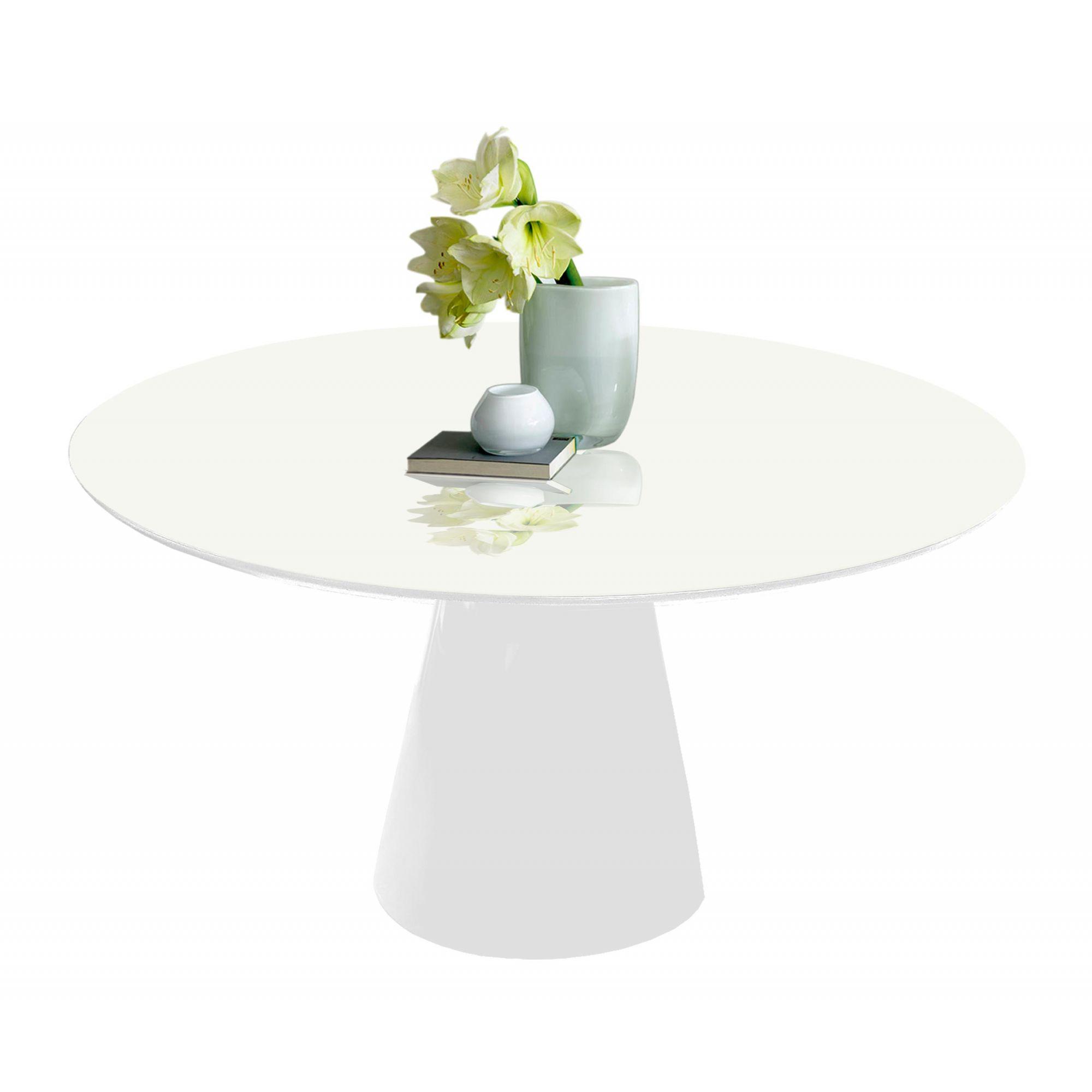 Mesa de Jantar Cone Redonda Branca em Fibra com Vidro Coverglass Sobreposto
