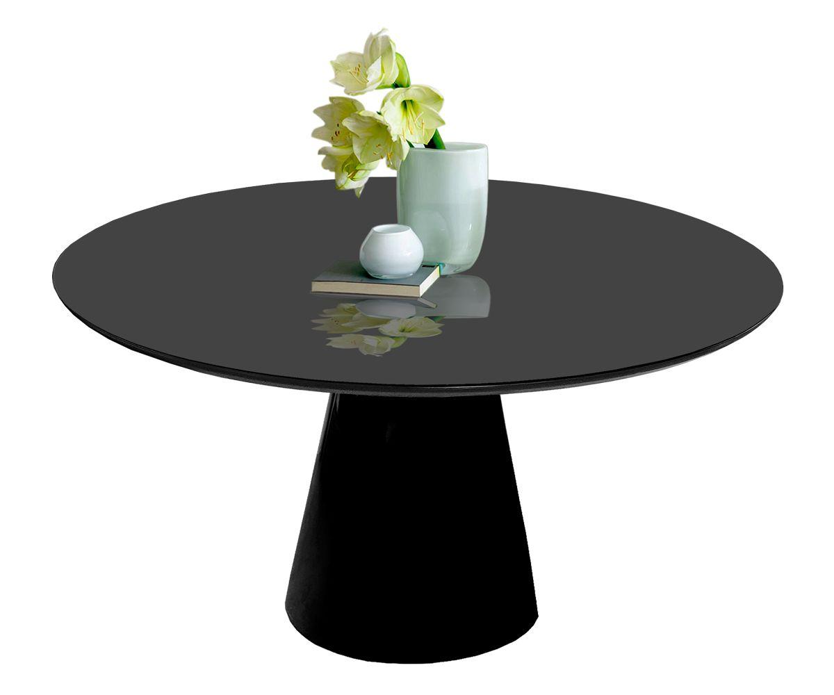 Mesa de Jantar Cone Redonda Preta em Fibra com Vidro Coverglass Sobreposto