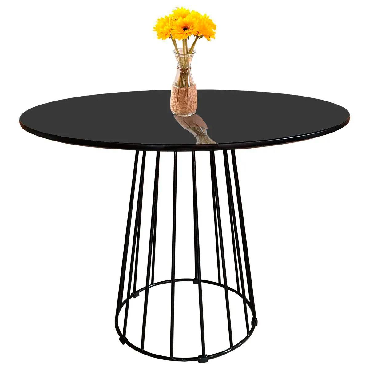 Mesa de Jantar Cone Redonda Raiada com Tampo Coverglass Sobreposto