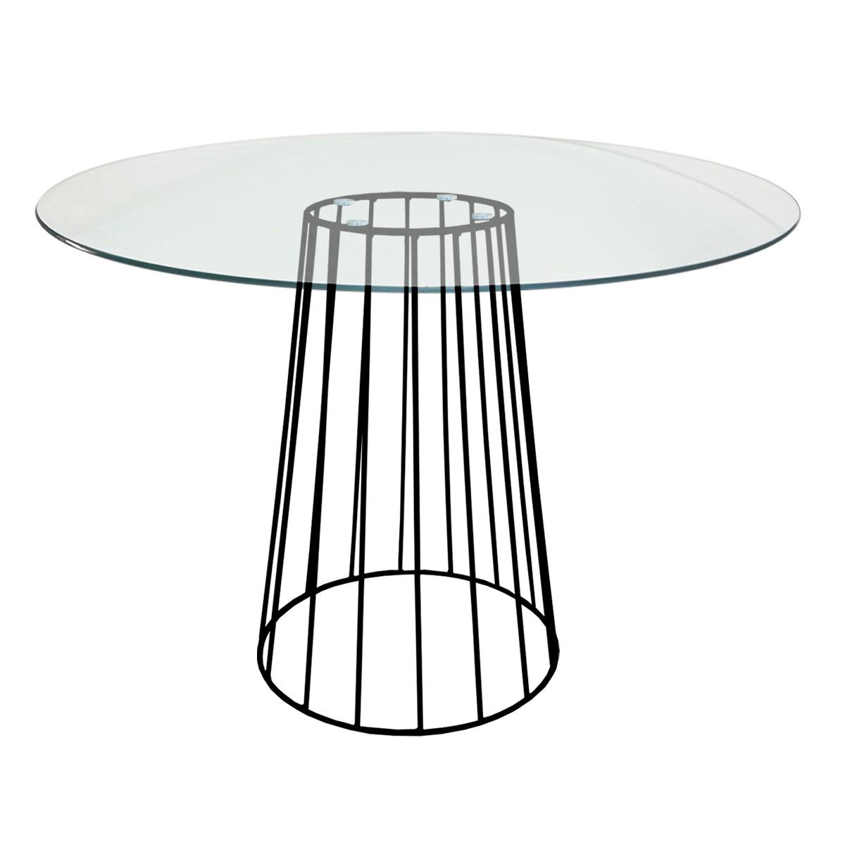 Mesa de Jantar cone Redonda Raiada com Tampo de Vidro Temperado 8mm