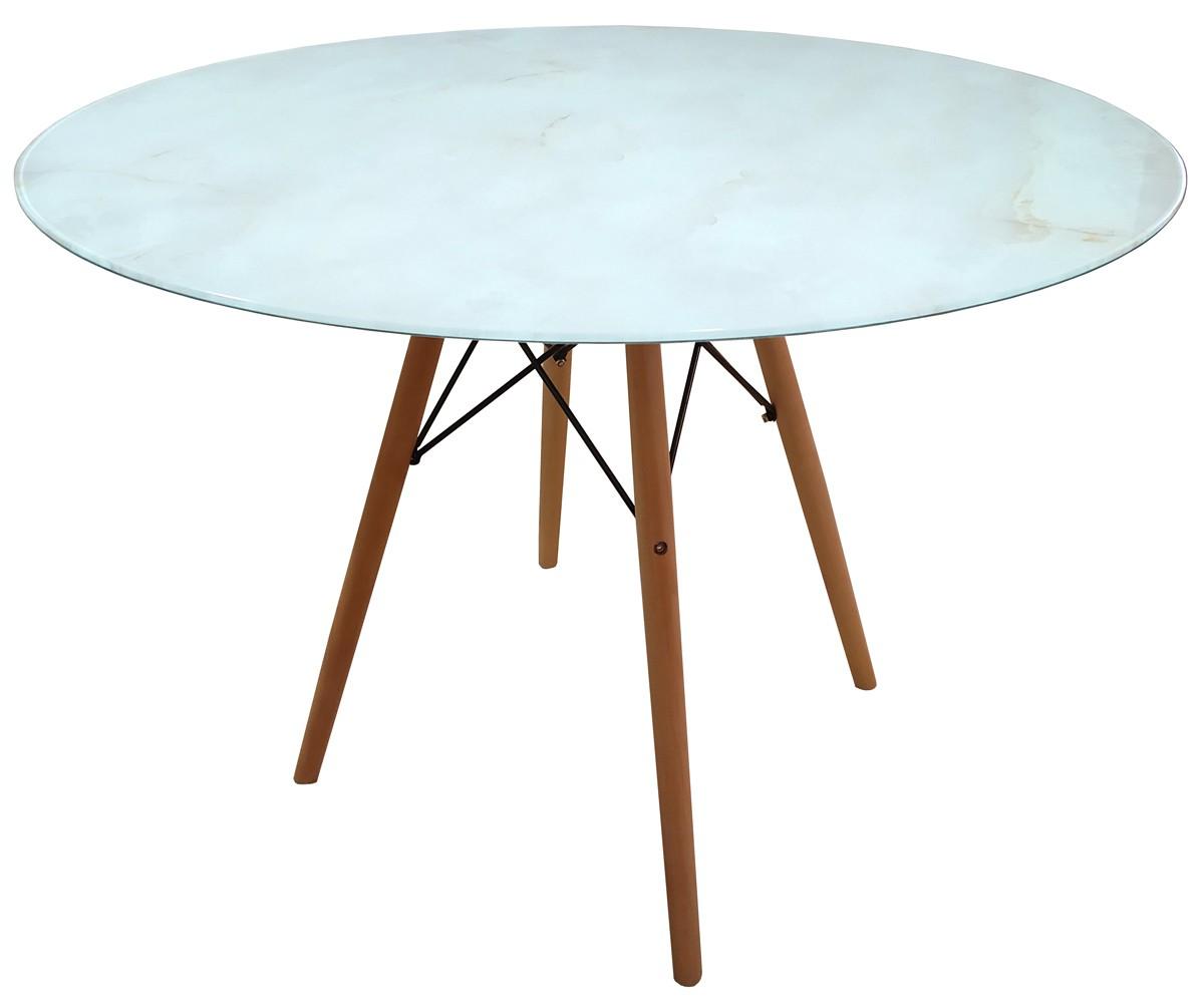 Mesa de Jantar Eames Madeira com Tampo Coverglass Ônix Ø 100cm
