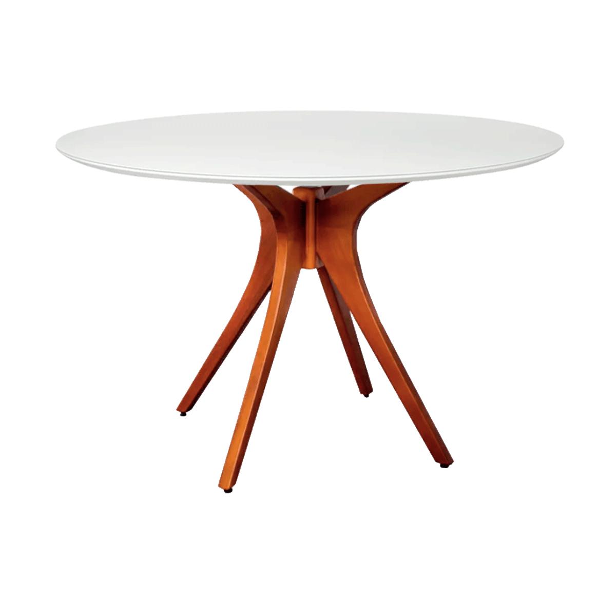 Mesa de Jantar Gataíba com Base Carvalho e Tampo Coverglass - Vários Tamanhos