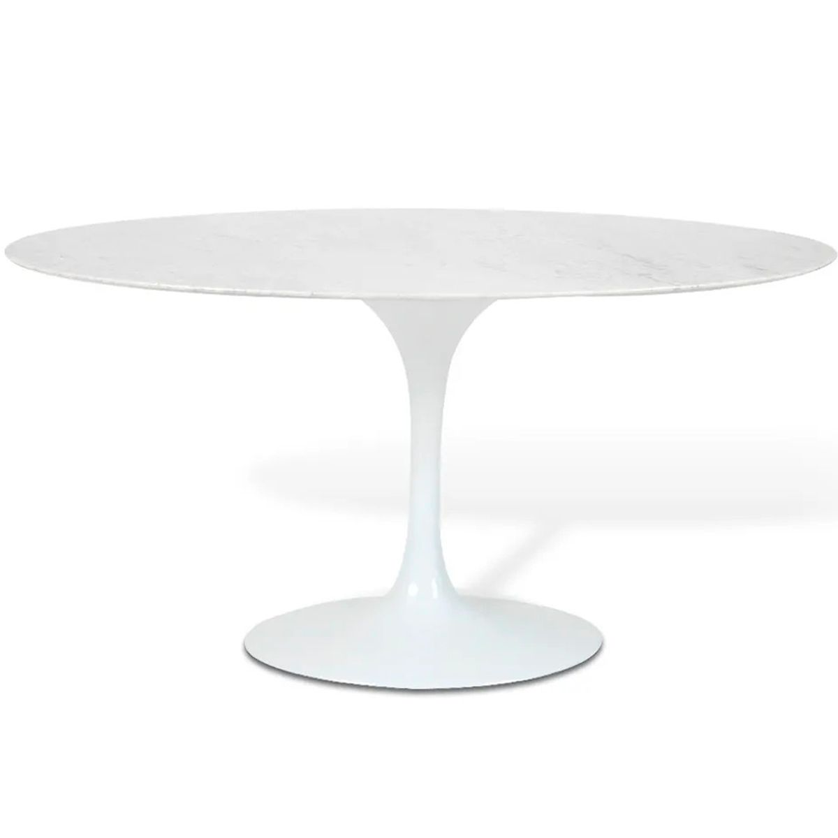 Mesa de Jantar Oval Saarinen Base Branca em Aluminio com Tampo de 120 x 80 cm