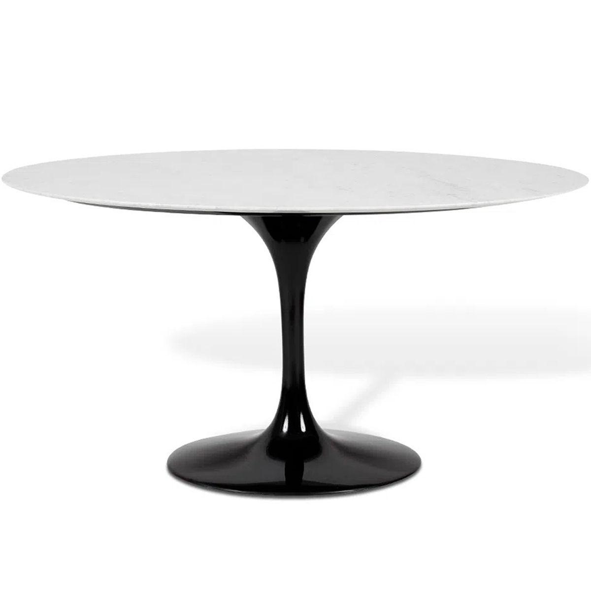 Mesa de Jantar Oval Saarinen Base Preta em Aluminio com Tampo de 120 x 80 cm