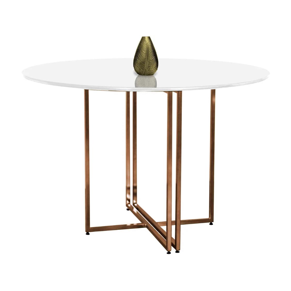 Mesa de Jantar Redonda New Elegance Cobre Rose Gold com Tampo Coverglass 120cm