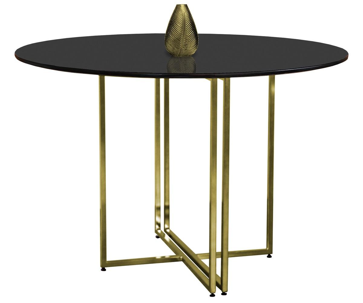 Mesa de Jantar Redonda New Elegance Gold com Tampo Coverglass 120cm