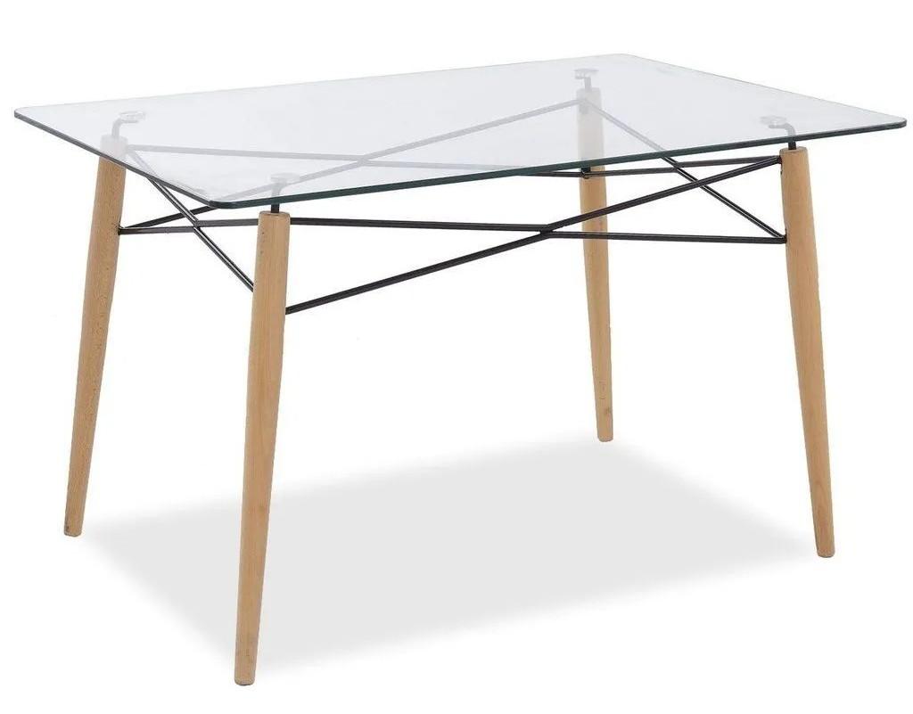 Mesa Eames Retangular com Tampo de Vidro - Pé Palito