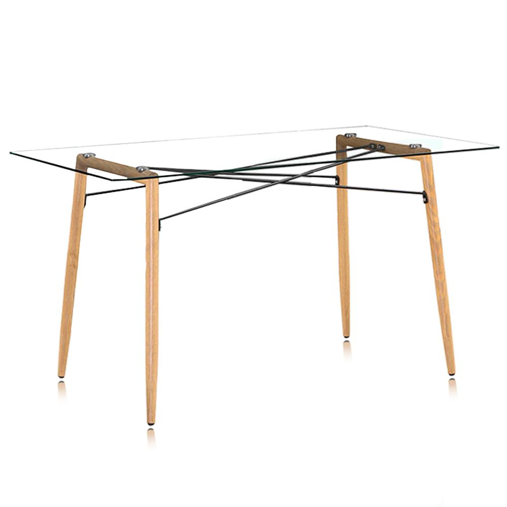 Mesa Rafia Charles Eames Retangular - Pé ferro Estampado
