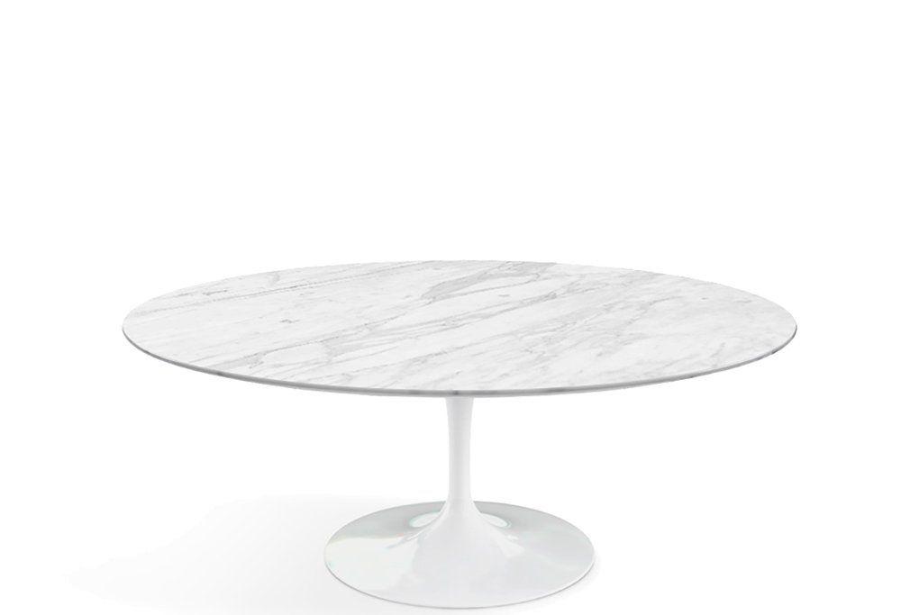 Mesa Saarinen de Centro Oval 137x91 em Alumínio Branca