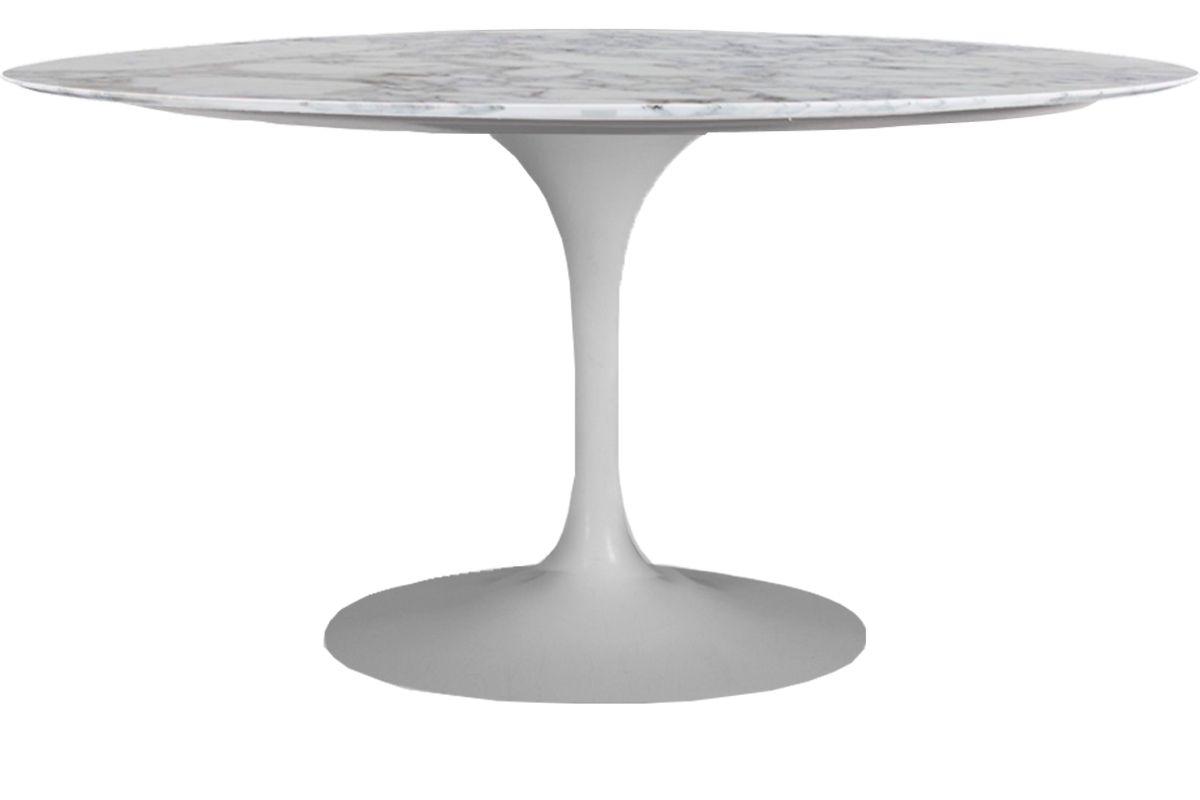 Mesa de Jantar Oval Saarinen Base Branca em Aluminio com Tampo de 160 x 90 cm