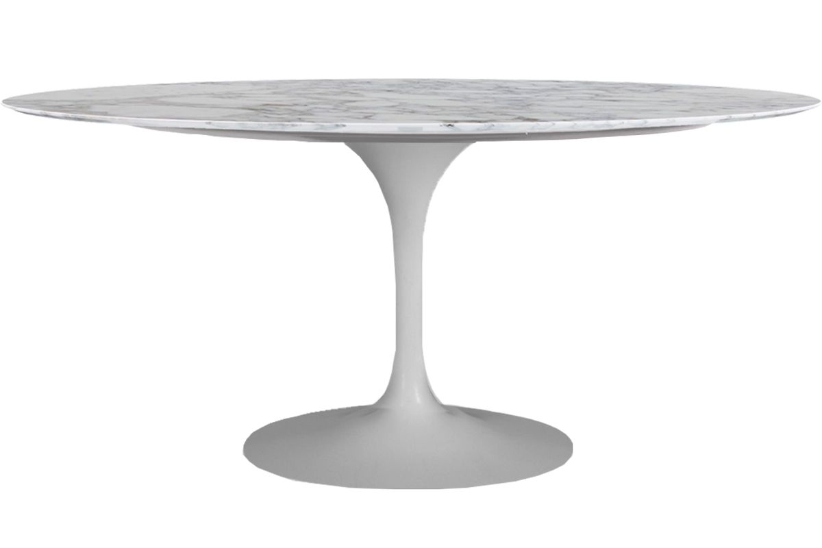 Mesa Saarinen de Jantar Oval Base Branca em Aluminio com Tampo de 180 x 100 cm