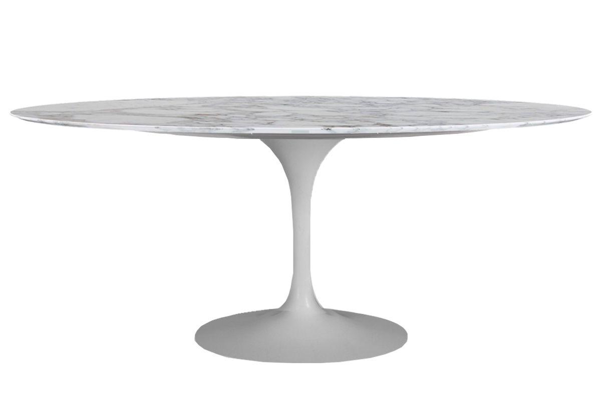 Mesa Saarinen de Jantar Oval Base Branca em Aluminio com Tampo de 198 x 122 cm