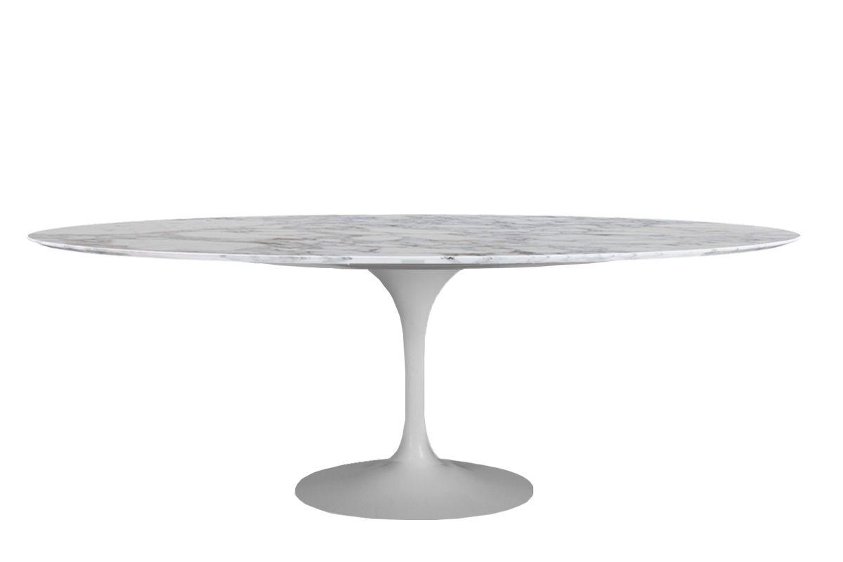 Mesa Saarinen de Jantar Oval Base Branca em Aluminio com Tampo de 235 x 122 cm