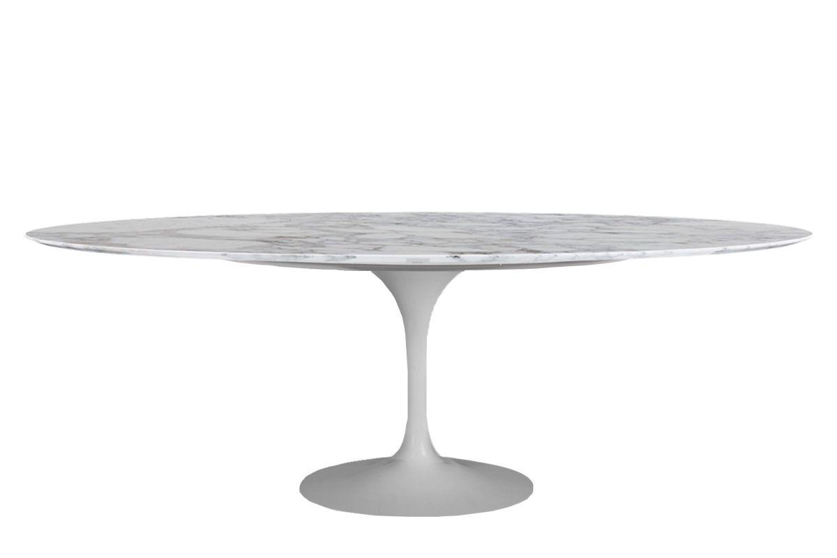 Mesa de Jantar Oval Saarinen Base Branca em Aluminio com Tampo de 244 x 137 cm