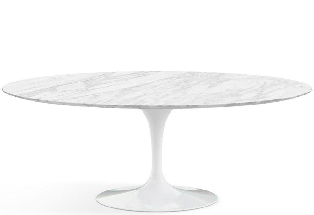 Mesa Saarinen de Jantar Oval em Alumínio Branca