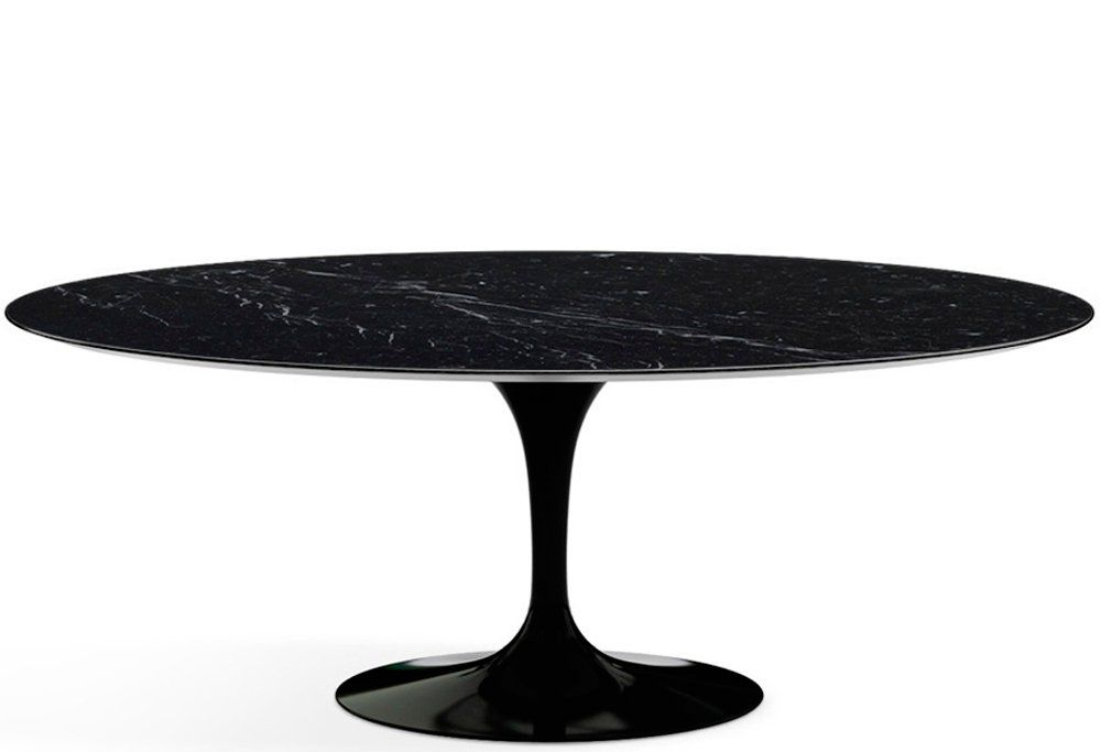 Mesa de Jantar Oval Saarinen Base Preta em Aluminio com Tampo de 160 x 90 cm