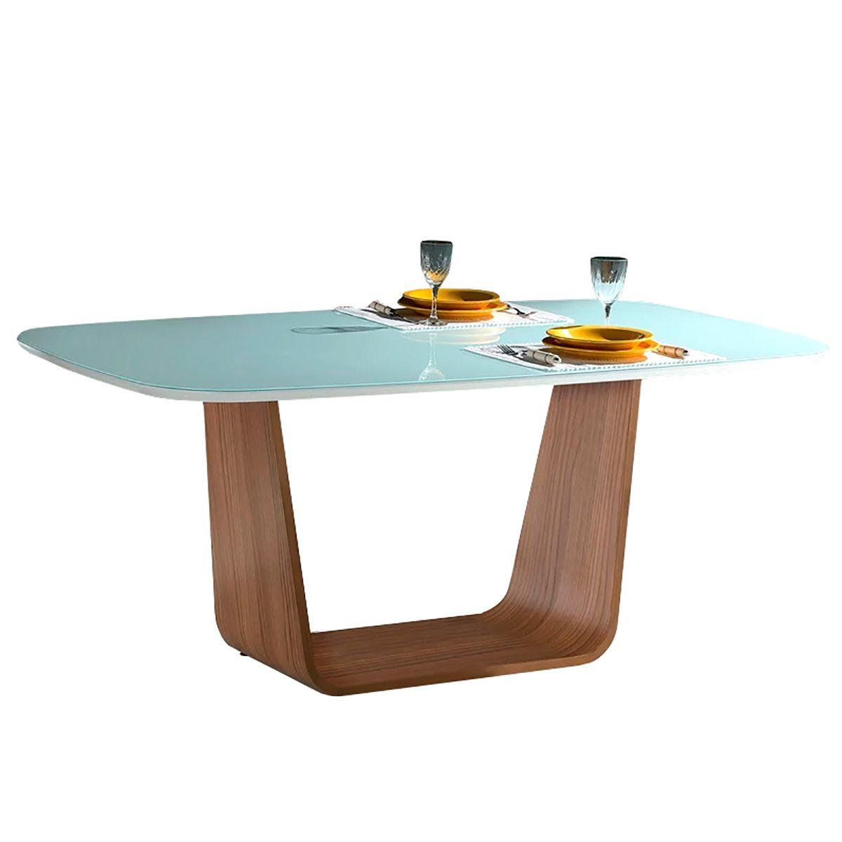 Mesa de Jantar Spa Madeira com Tampo de Vidro Branco 4/6 Lugares
