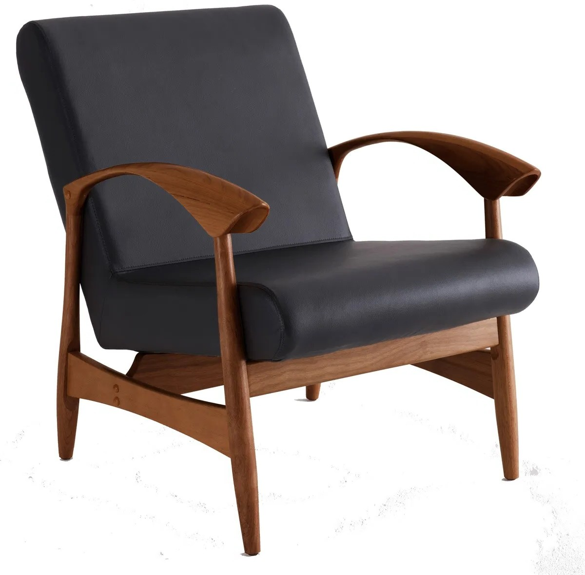 Poltrona Anos 50 em Madeira Cumaru e Assento em Corino Estofado