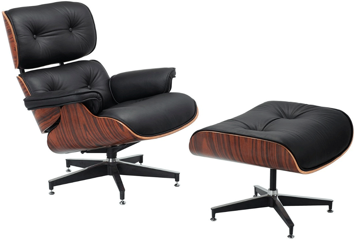 poltrona charles eames preta puff acabamento imbuia. Black Bedroom Furniture Sets. Home Design Ideas