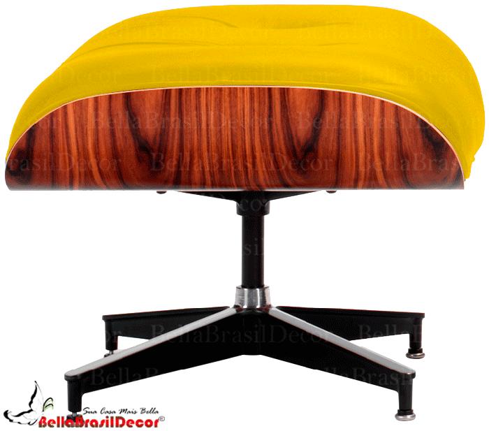 Puff Charles Eames Amarelo Acabamento Imbuia