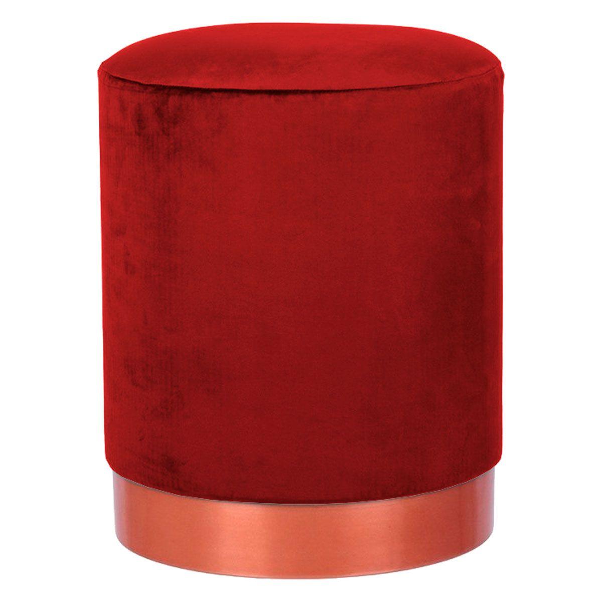 Puff Franchesco Cobre Rose Gold com Assento em Veludo