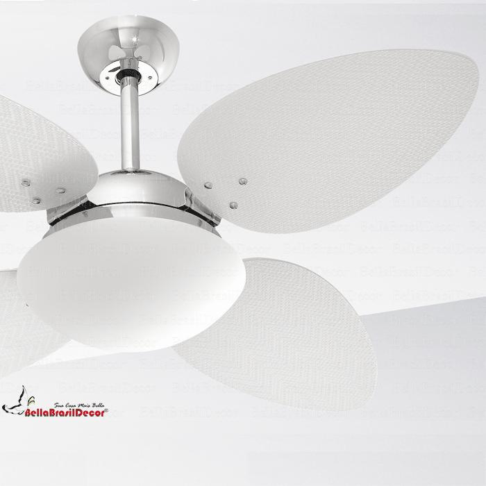 Ventilador Cromado VR42 4 Pas Petalo Palha Natural