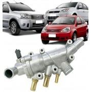 Valvula Termostatica completa com Carcaca Fiesta Ka Ecosport Focus 1.0 e 1.6 Flex em Aluminio