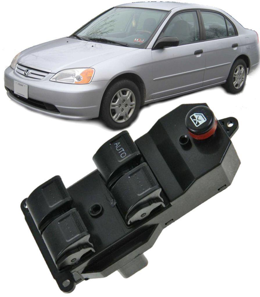 Botao Interruptor Vidro Eletrico Civic 1.7 de 2001 a 2005 e CRV de 2002 a 2006