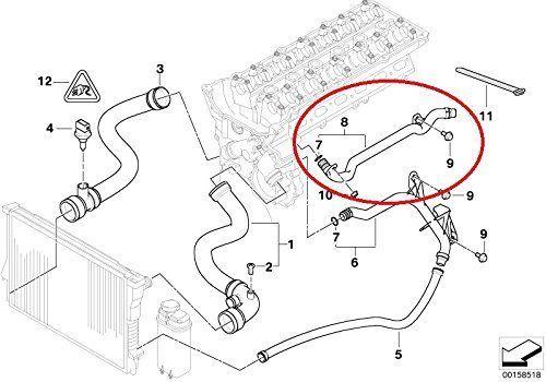 Cano de saida de agua motor Bmw X3 X5 325i 330i 528i 525i 2.5 e 3.0 6cc