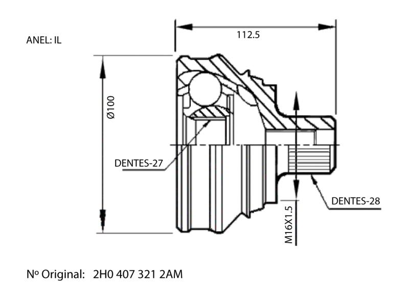 Junta Homocinetica Amarok 4X4 2.0 16V Diesel de 2011 à 2018 - 27X28