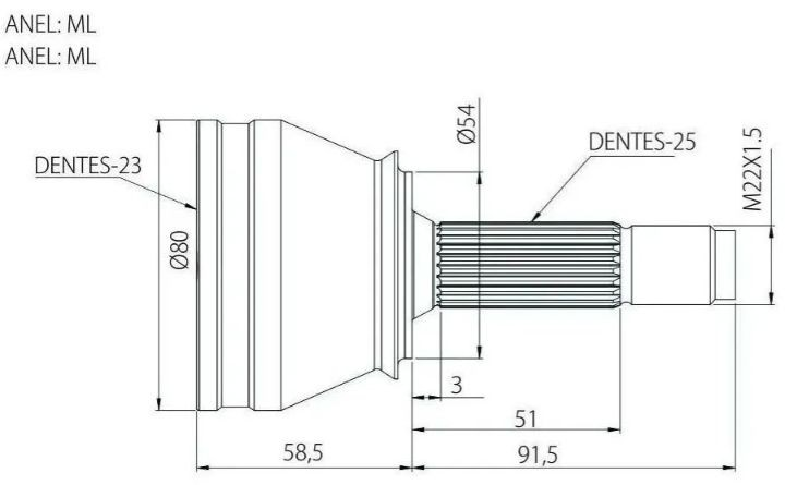 Junta Homocinetica Cobalt e Spin 1.8 Automatico - 25x23