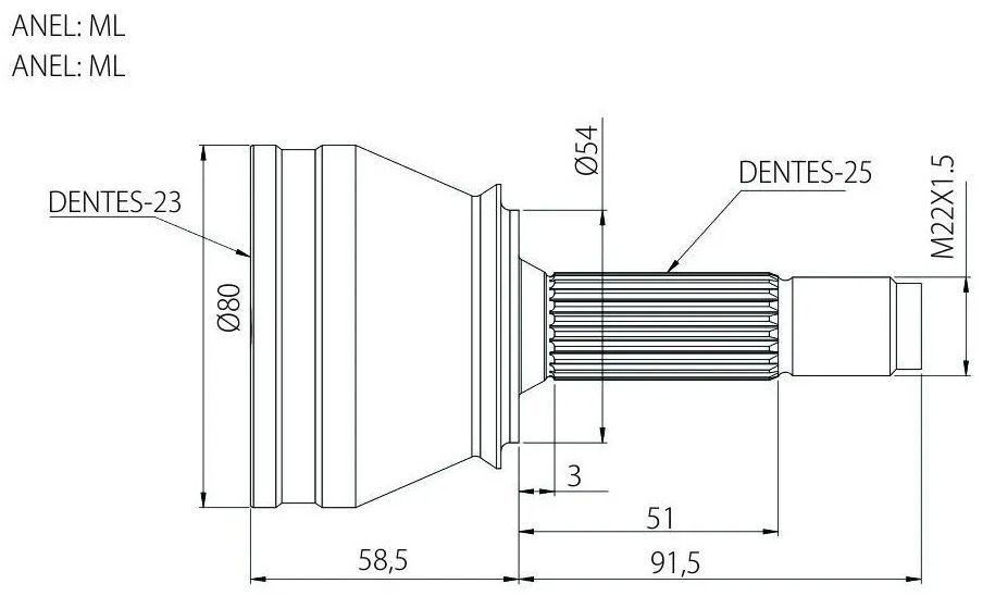 Junta Homocinetica Cobalt Spin Onix Prisma 1.4 e 1.8 Automatico - 25x23