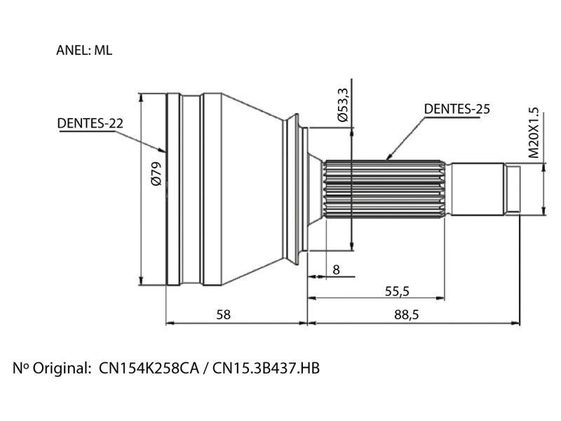 Junta Homocinetica Ecosport 1.6 16V Sigma 22X25 cambio manual Nova 13