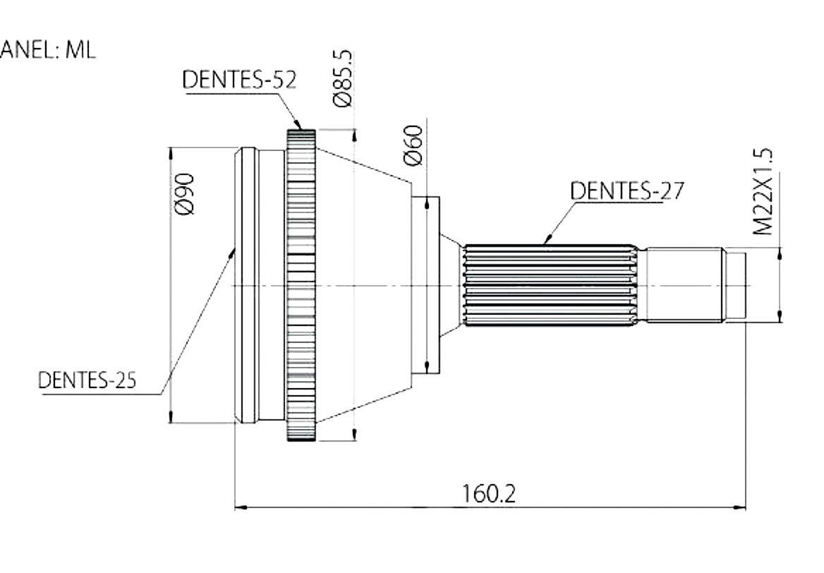 Junta Homocinetica Jac Motors J6 2.0 16v J5 1.5 16v Com Freio Abs