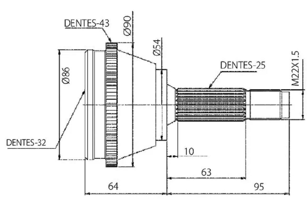 Junta Homocinetica Mitsubishi Pajero Tr4 2.0 16V e Io 1.8 de 1999 a 2014 Manual - 25x32